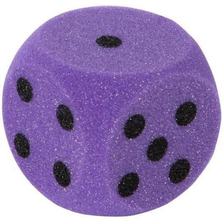 Grand dé en mousse 7 cm pour jeu coloré violet