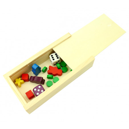 Coffret bois S pour jeu de cartes ou accessoires jeux glissière 13 x 6.5 x 3 cm