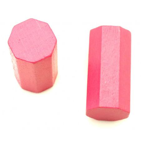 pion octogone rose 15 x 30 mm en bois pour jeu
