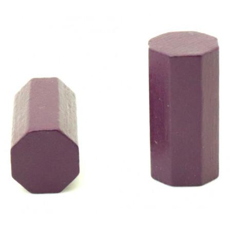 pion octogone violet 15 x 30 mm en bois pour jeu