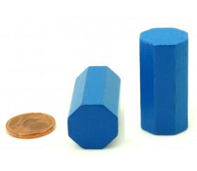 pion octogone bleu 15 x 30 mm en bois pour jeu