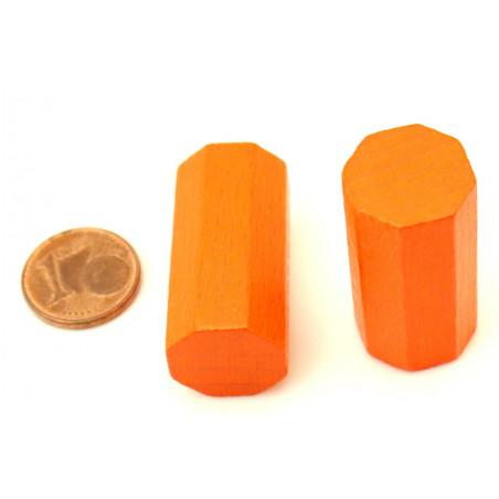 pion octogone orange 15 x 30 mm en bois pour jeu