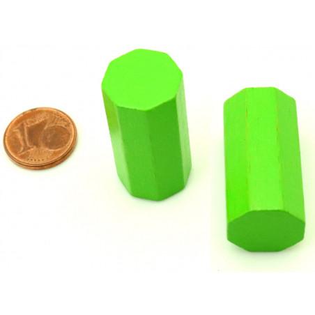 pion octogone vert clair 15 x 30 mm en bois pour jeu