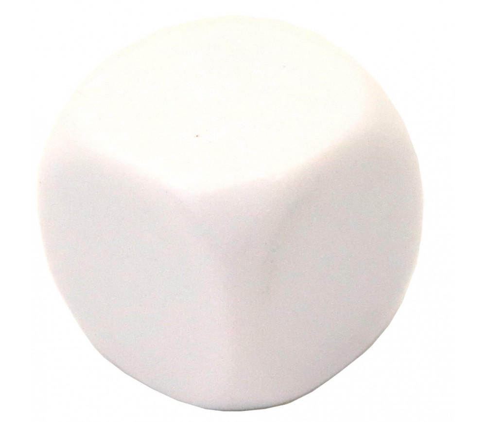 Dé 6 faces neutre 25 mm coins arrondis à personnaliser