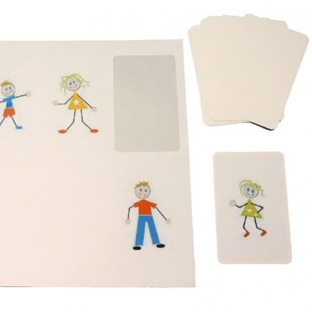 27 étiquettes autocollantes 85x54 mm rectangles coins arrondis pour cartes à jouer