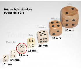 Lot de 6 dés en bois 16 mm de 1 à 6 pour jeu de société