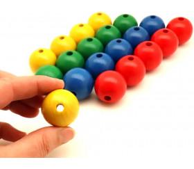 Lot 20 Grosses perles boules colorées en bois diamètre30 mm