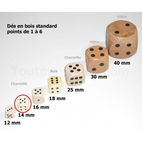Lot 2 Dés bois 14 mm de 1 à 6 pour jeu de société