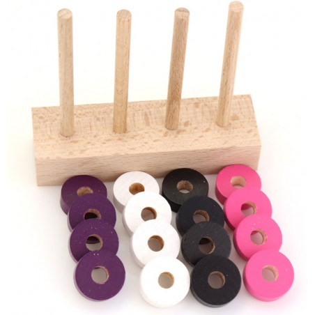 Abaque de tri bois - Socle 4 tiges + 40 jetons violet rose noir et blanc