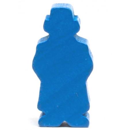 Pion Détective bleu 28 x 15 mm - homme chapeau et manteau