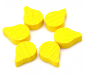 Mini Jeton feuille goutte huile jaune -15 x 10 x 8 mm