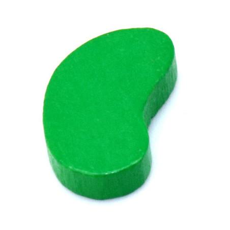 Pion jeu Graine haricot en bois verte de  17.5 x 11 x 4 mm