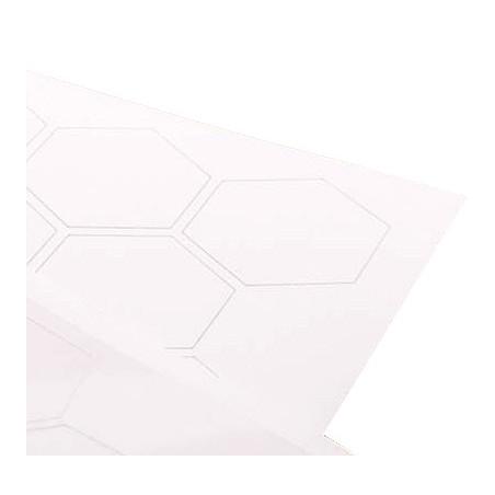Jetons hexagonaux blancs pour jeux à personnaliser de 5 cm.