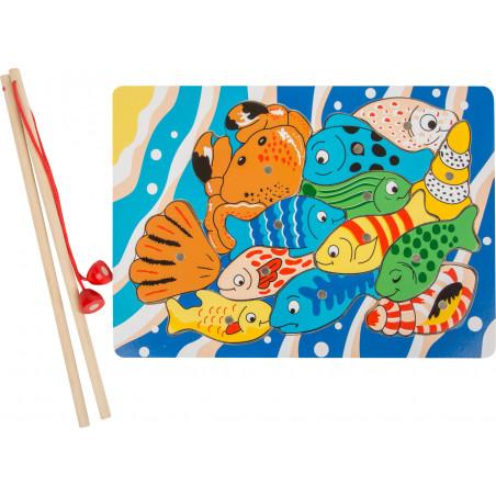 Jeu pêche bois à la ligne puzzle aimanté