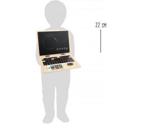 Jouet enfant Ordinateur en bois jeu avec tableau noir et magnétique