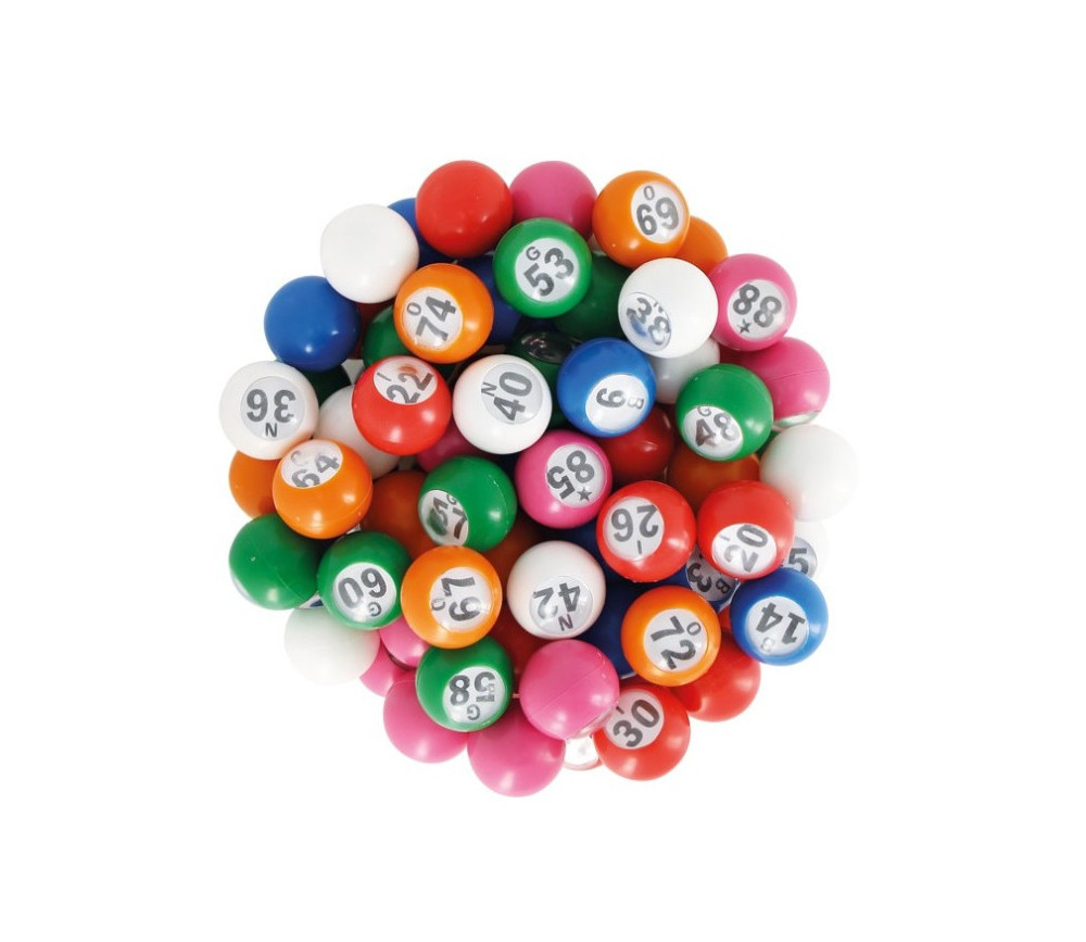 90 boules loto 22 mm de diamètre numérotées en plastique coloré