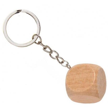 Porte-clés dé bois neutre à personnaliser