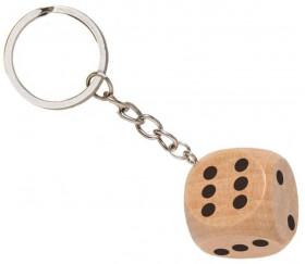 Porte-clés dé à jouer bois standard 1 à 6