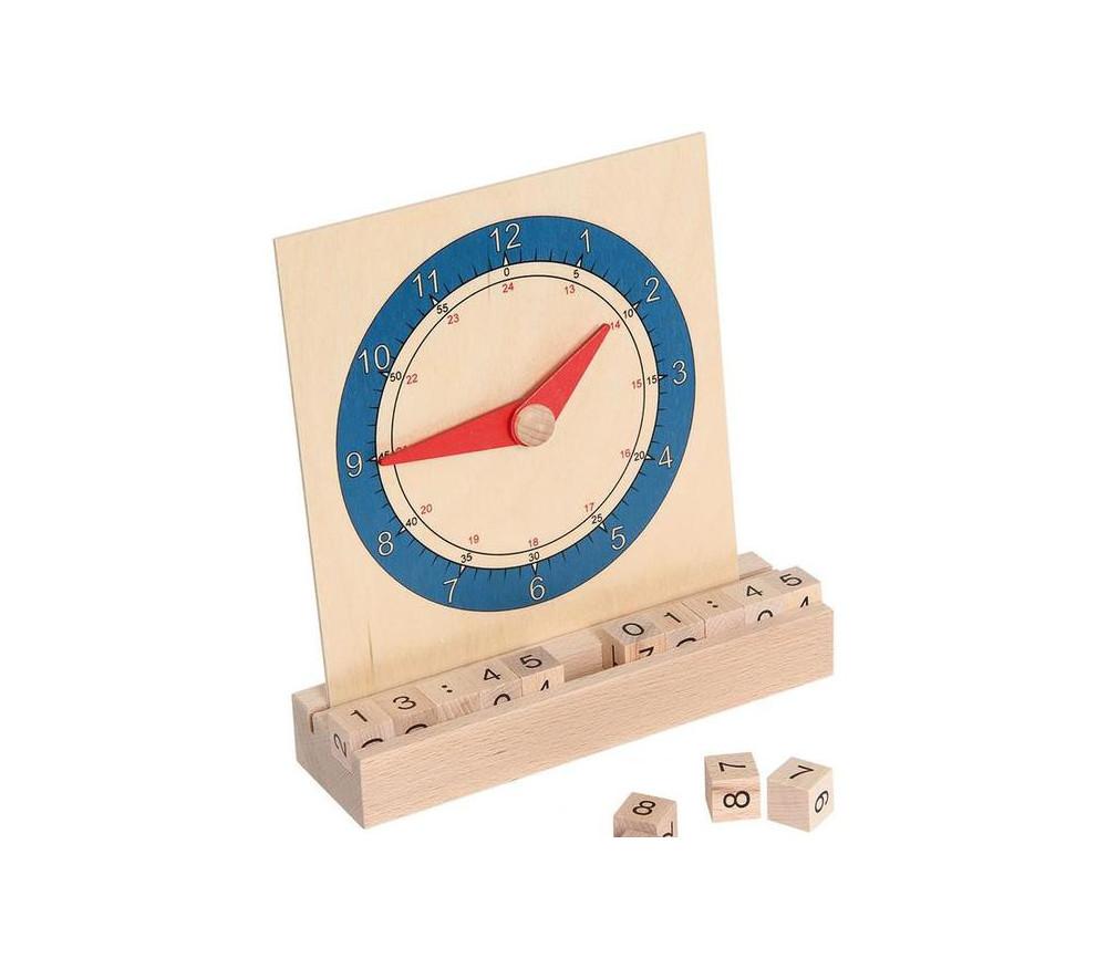 Horloge éducative en bois : heure analogique et digitale