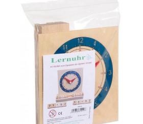Horloge en bois pour apprendre heure analogique sur cadran et digitale