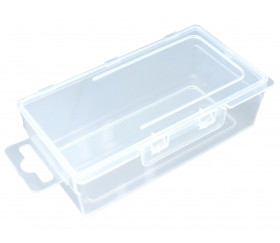 Boite plastique  transparente  vide avec couvercle intégré pour ranger matériel de jeux.