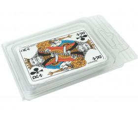 Boite plastique blister transparente pour ranger cartes de jeux.