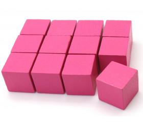 12 Cubes roses en bois 2 cm. 20 x 20 x 20 mm