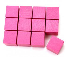12 Cubes en bois 2 cm roses pour vos jeux de société ou construction