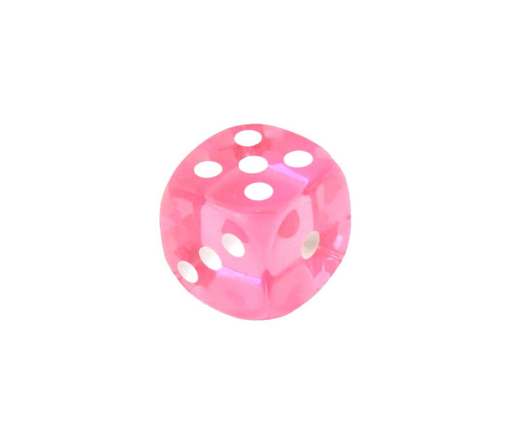 Dé translucide ROSE 16 mm pour jeux