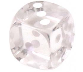 Dé translucide transparent blanc 16 mm