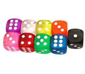 Dé à jouer translucide points 1 à 6 pour jeux