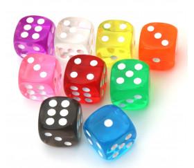 Dés couleurs translucides points 1 à 6 pour jeux