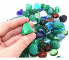 Goodspot/® Lot de 110 galets en verre multicolores 500 g