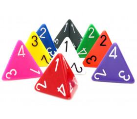 Dé 4 faces 1 à 4 opaques d4 pour jeux colorés