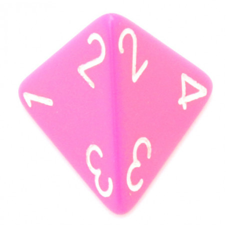 Dé 4 faces 1 à 4 rose opaques d4 pour jeux pyramide