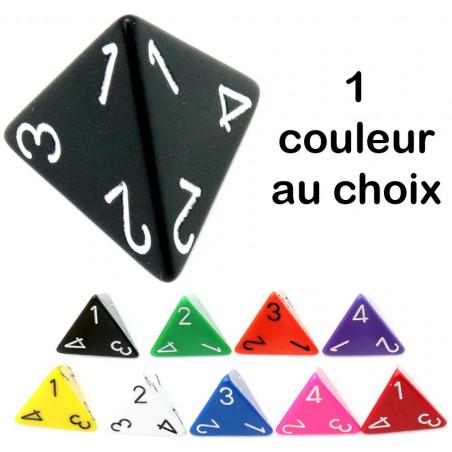 Dé 4 faces 1 à 4 opaques d4 pour jeux couleur au choix