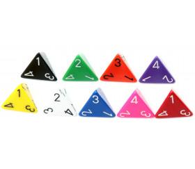 Dé 4 faces 1 à 4 opaques d4 pour jeux couleurs variées