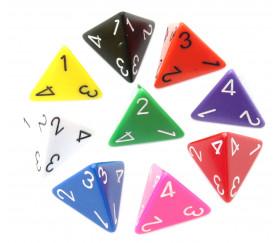 Dé 4 faces 1 à 4 opaques d4 pour jeux de société