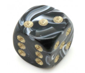 Mini Dé marbré noir 12 mm points dorés