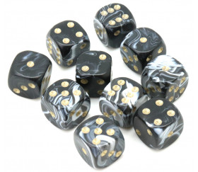 Mini Dé marbré noir 12 mm points dorés pour jeux