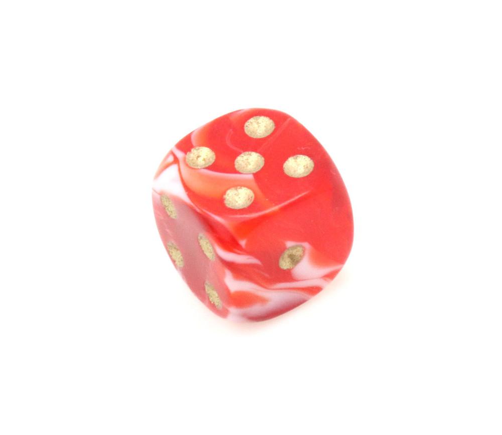 Mini Dé marbré rouge 12 mm points dorés