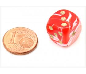 Mini Dé marbré rouge 12 mm points dorés pour jeux