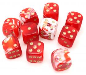 Mini Dé marbré rouge 12 mm points dorés jeux de société