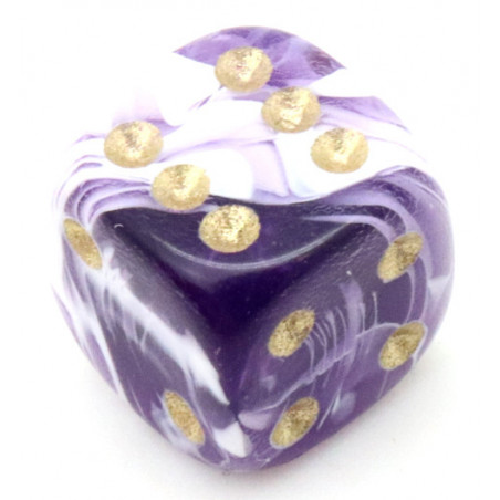 Mini Dé marbré violet 12 mm points dorés