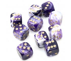 Mini Dés à jouer marbré violet 12 mm points dorés