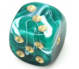 Mini Dé marbré vert 12 mm points dorés