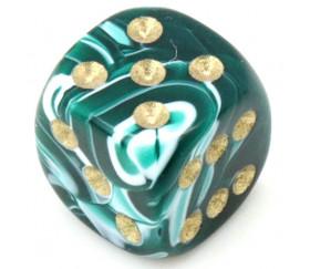 Mini Dé à jouer vert 12 mm points dorés marbré