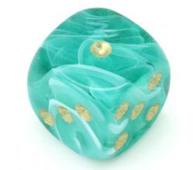Mini Dé jeu marbré vert et blanc en 12 mm points dorés