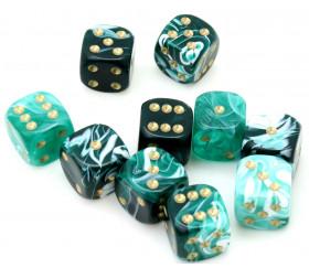 Mini Dé marbré vert et blanc de 12 mm pour jeux de rôle