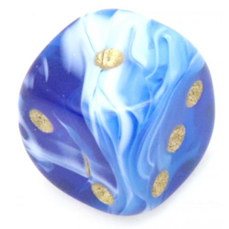Mini Dé à jouer marbré bleu 12 mm points dorés